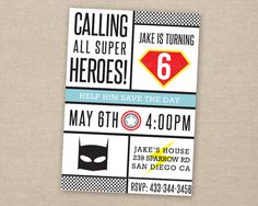 superhero invitation  superhero party  by paperkitedesigns on Etsy