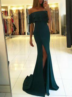 Silhouette:mermaid Hemline:floor length Neckline:off the shoulder Fabric:satin Sleeve Style:sleeveless Color:green Back Style:zipper up