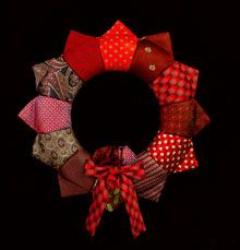 Regal & Re-purposed Tie Wreath - What a great way to reuse old neck ties... love this idea!