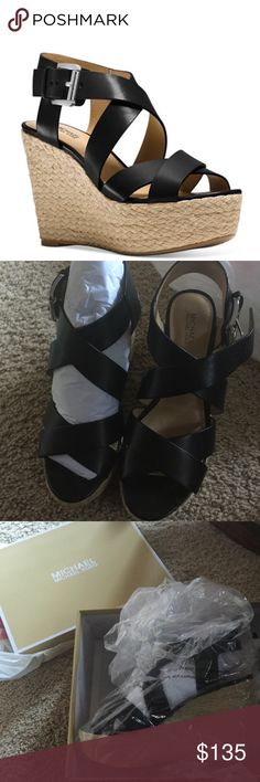 "Michael Kors Mid Platform Wedge Sandals These are beautiful, super comfortable Michael Kors Mid Platform Wedges - brand new never opened in box. They are made of Vachetta Leather and rubber sole. Adjustable Buckle closure at back strap. 4 1/4 "" jute-wrapped wedge heel. Black Color and size is 6. Accepting reasonable offers only. No trades. Michael Kors Shoes Wedges"