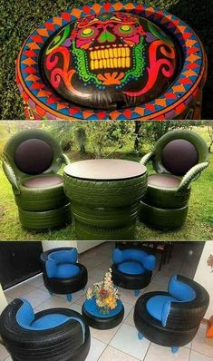 with old tires.Creativity with old tires. Outstanding diy flowers information are readily available on our internet site. Have a look and you wont be sorry you did. diyflowers Apple Helios Day Bed - modern - day beds and c. Tire Furniture, Diy Garden Furniture, Recycled Furniture, Outdoor Furniture, Furniture Ideas, Handmade Furniture, Small Patio Ideas On A Budget, Budget Patio, Diy Patio