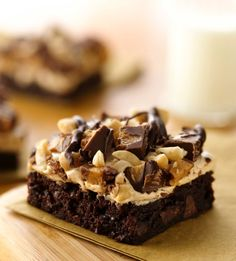 Brownies, marshmallow crème, salted peanuts, chocolate chips and peanut butter cup candies--if you're looking to go all-out, this is the brownie recipe for you.