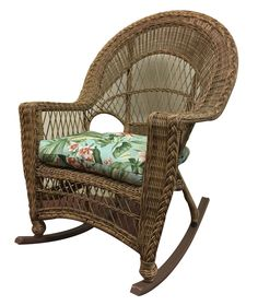 ElanaMar Designs Madison Rocking Chair with Cushion Fabric: Jamaica Mist, Finish: Natural Wicker Rocker, Wicker Chairs, Patio Chairs, Rattan, Patio Glider, Outdoor Rocking Chairs, Floral Cushions, Cushion Fabric, Natural Brown