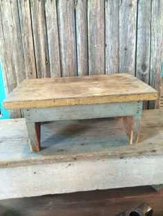 antique wooden bench. Primitive Antique Early Wood Square Nail Stool Riser In Gray/Green Paint-$33 Wooden Bench