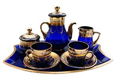 Gilded Cobalt Glass Tea Set, 6 Pcs on OneKingsLane.com I LOVE cobalt glass... BEAUTIFUL set!