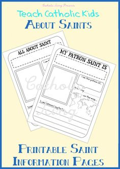 Mini Saint Information Fill-in Page for Children