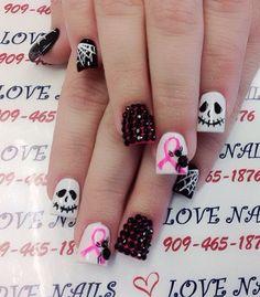 Halloween nail art-54 - 65 Halloween Nail Art Ideas  <3 <3 Halloween AND breast cancer awareness!