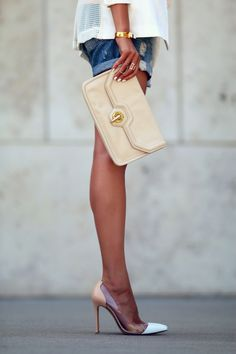 Vita Fede, Gianvito Rossi PVC shoes, ripped denim shorts. Rag & Bone Blazer.  Summer Day to Night | FASHIONED|CHIC