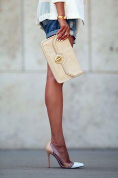Vita Fede, Gianvito Rossi PVC shoes, ripped denim shorts. Rag & Bone Blazer.  Summer Day to Night   FASHIONED CHIC