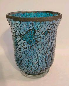 5 Blue And Black Crackle Glass Candle Holder - Glass Candle - Ideas of Glass Candle - 5 Blue And Black Crackle Glass Candle Holder Price : Crackle Glass, Glass Candle Holders, Room Decor, Vase, Candles, Girls, Black, Ideas, Home Decor