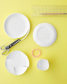 Cub scouts.  Easy snack bowls from cheap paper plates and rubber bands.