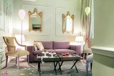 Beautiful-living-space-Parisian-interior-design-equipped-purple-sofa-chusion-and-coffee-table-also-snug-chair-plus-lamp-floor-added-identical-mirror-on-wall-ideas-in-Hotel-La- – Primadr , Parisian Decor, Baroque Decor, Luxury Interior Design, Interior Design Living Room, Interior Decorating, Unique Floor Lamps, Purple Sofa, Hotel Paris, Hotel Interiors
