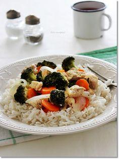 zöldséges pulykamell Wok, Risotto, Ethnic Recipes