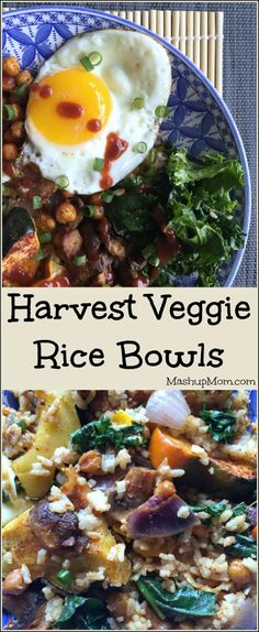 Harvest Vegetable Rice Bowls (with a fried egg): A flavor-packed, protein-packed, veggie-packed Meatless Monday vegetarian dinner option. These harvest veggie bowls are also great for lunches! | MashupMom.com #ricebowls #meatlessmonday