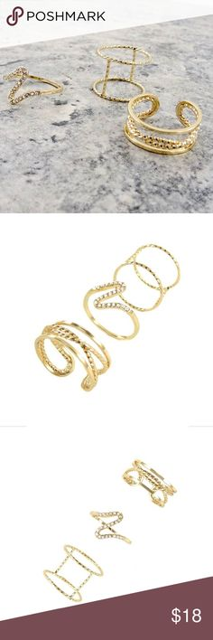 Paula Multi Ring Pack Gold look geometric shape multi-ring pack.  Size 7 Classic Paper Doll Jewelry Rings