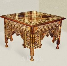 Picture of Style # 2464 - Arabian, Moroccan style Mosaic side table hand inlaid with mother of pearl.