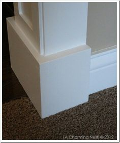 DIY door casing to add visual heft and detail. Baseboard Trim, Baseboards, Baseboard Styles, Home Improvement Projects, Home Projects, Home Renovation, Home Remodeling, Plinth Blocks, Moldings And Trim