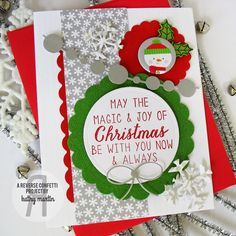 Card-Blanc by Kathy Martin. Reverse Confetti stamp set: Seasonal Sentiments. Confetti Cuts: Circle Garland, Let It Snow, North Pole Wishes and Circles 'n Scallops. Christmas card.