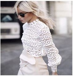 Gender: Women Decoration: Hollow Out Clothing Length: Regular Sleeve Style: lantern Sleeve Pattern Type: Solid Style: Casual Fabric Type: Lace Material: Cotton,Polyester Collar: O-Neck Sleeve Length: