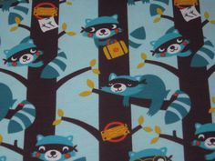 50cm Organic Jersey Racoons  patterned fabric by PollyFabrics, €11.50