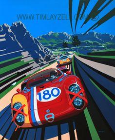 Automotive Art Originals – Sport is lifre Alfa Romeo, Auto Illustration, Porsche, Mobile Art, Car Posters, Vintage Race Car, Car Drawings, Automotive Art, Car Painting