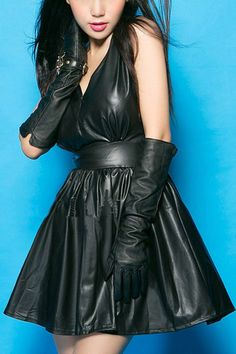 Flared black leather minidress with gloves