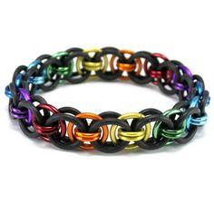 Black Rainbow Stretch Bracelet Moon Chain by CelestialBlacksmith