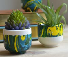 How to Make Your Own Marbled Mini Planters #darbysmart #diy #artsandcrafts #homedecor