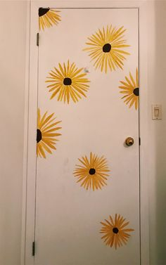 Quick Door Paint Excited To Do More Of These Rooms In 2019 inside measurements 1677 X 2680 Cute Bedroom Door Decorations - Entrance doors of any kind Painted Bedroom Doors, Painted Doors, Bedroom Door Decorations, Sunflower Room, Cute Room Decor, Tumblr Rooms, Aesthetic Room Decor, Room Goals, Bedroom Art