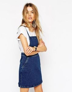 ASOS Denim Aline Pinafore Dress in Mid Blue