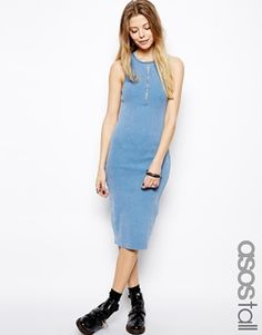 ASOS TALL Midi Bodycon Dress In Acid Washed Rib With Zip
