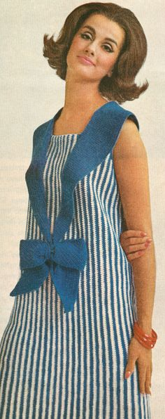 1960s Vintage Nassau Sailor Collar Skimmer Dress Crochet Pattern PDF 6510.   We called this dress shape a Shift.