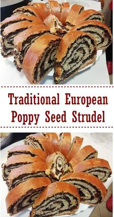 This poppy seed strudel recipe showcases the distinctive taste of poppy seed filling that is so popular in European sweets rolled inside a yeast dough crust. This strudel really lets you taste the poppy seeds. Slovak Recipes, Ukrainian Recipes, Czech Recipes, Hungarian Recipes, Ethnic Recipes, Hungarian Desserts, Ukrainian Food, Austrian Recipes, Poppy Seed Filling