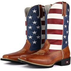 e53bb92ea7199 Bota Country Sapatofran Texana Rebento Bico Quadrado EUA Branco Azul