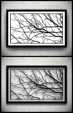 FRAMED Tree Branches Handmade Original Papercut: Hand-Cut Paper Art Silhouette - 22.24 x 12.6 inches (56.5 x 32 cm)