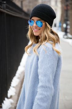 Steal Her Style: Babyblue Coat Runway Fashion, Womens Fashion, Fashion Tips, Fashion Trends, Street Fashion, Latest Fashion, Fashion Outfits, Mode Style, Style Me