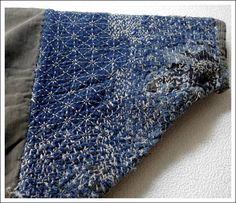 Antique Hand Stitched Boro Sashiko Indigo Cotton Jacket