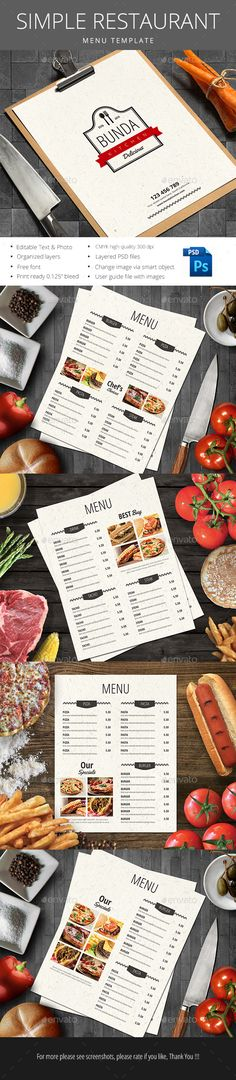 Simple Restaurant Menu Template PSD #design Download: http://graphicriver.net/item/simple-restaurant-menu/14404829?ref=ksioks