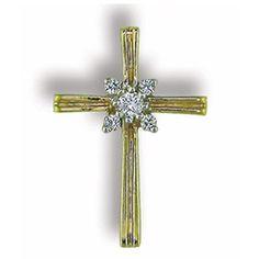 Cross Pendant with 0.10 cttw. Diamonds https://www.goldinart.com/shop/diamond-necklaces/cross-pendant-with-0-10-cttw-diamonds #14KaratYellowGold, #Cross