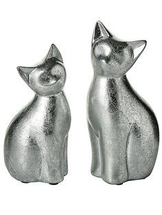 Lovely Deko Katze silber ca cm und ca