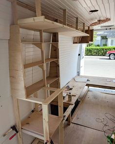Shelving update! Mom and dad are almost done with the woodworking portion of the van build YAY! It has been really fun to learn but quite the challenge since neither mom nor dad have woodworking experience. They've definitely cut a lot of things wrong, fi