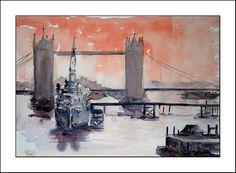 Tower Bridge 14x11 inches -Watercolour