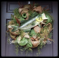 The French origins of April Fool's Day were centered around fish gags. So a wreath like this might be funny to make for occasion. Wreath Burlap, Wreath Crafts, Diy Wreath, Camo Wreath, Wreath Ideas, Hunting Wreath, Sports Wreaths, Memorial Flowers, Deco Mesh Wreaths