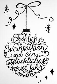 handlettering weihnachten #weihnachten #2020 Handlettering Weihnachten / Neujahr: Frhliche Weihnachten und ein glckliches neues Jahr / Weihnachtskugel