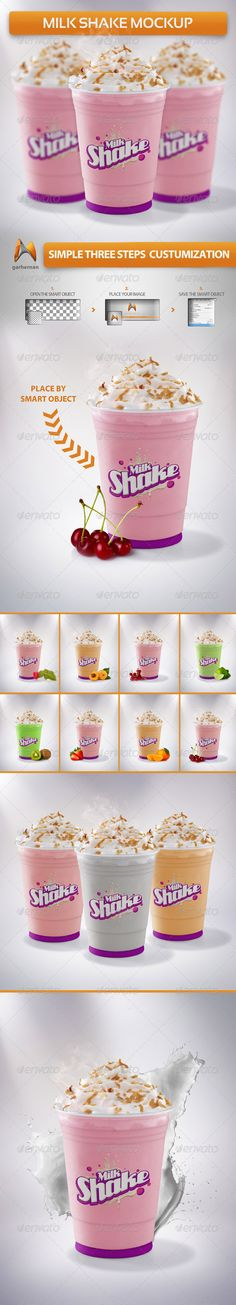 Milkshake Mockup — Photoshop PSD #cup #tropical • Available here → https://graphicriver.net/item/milkshake-mockup/5342578?ref=pxcr