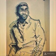 A #tbt #drawing from circa 2007 of #jazz #trumpeter #KennyDorham  given a remix via #prisma and #pixlr ...#art #sketchoftheday