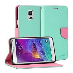 Galaxy Note 4 Case, GMYLE Wallet Case Classic for Samsung Galaxy Note 4 IV N910 - Mint Green & Pink Cross Pattern PU Leather Slim Stand Case Cover GMYLE http://www.amazon.com/dp/B00N4OT1FO/ref=cm_sw_r_pi_dp_Vmioub0A3Q81G