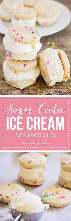 Sugar Cookie Ice Cream Sandwiches - creamy vanilla ice cream sandwiched between crisp and buttery sugar cookies. The perfect summer dessert!