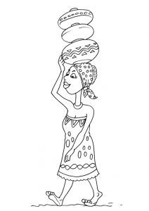 African Theme coloring page Drawing For Kids, Art For Kids, Colouring Pages, Coloring Books, Afrique Art, African Art Paintings, African Theme, Kids Around The World, World Crafts