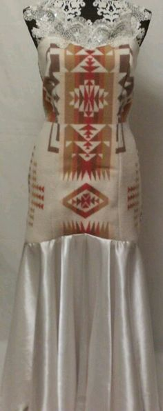would be better with a dif color & beading in between wool & satin. taffeta would b better native prom dress Native American Wedding, Native American Clothing, Native American Regalia, Native American Fashion, Native Fashion, Native Wears, Ribbon Skirts, Native Design, Dress Indian Style